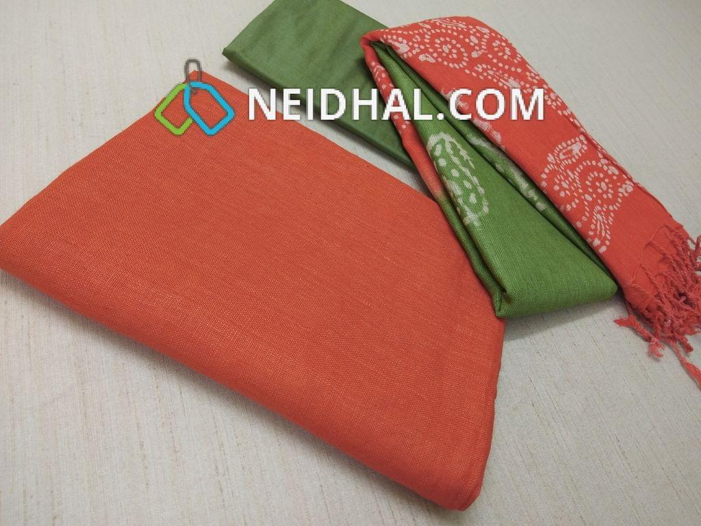 Designer Orange Linen unstitched Salwar material(requries lining), Green soft silk thin bottom, Dual color Batik dyed Linen dupatta with tassels