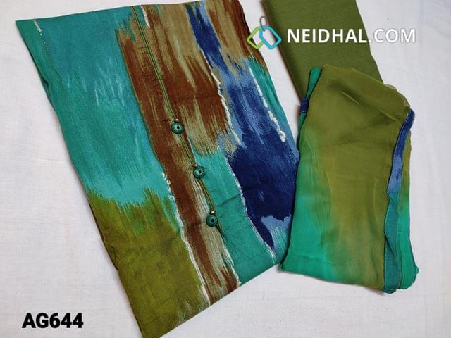 CODE AG644 : Abstract Printed Rayon Fabric unstitched Salwar material (Soft and Flowy Fabric) , Green cotton bottom, Dual Chiffon dupatta with taping