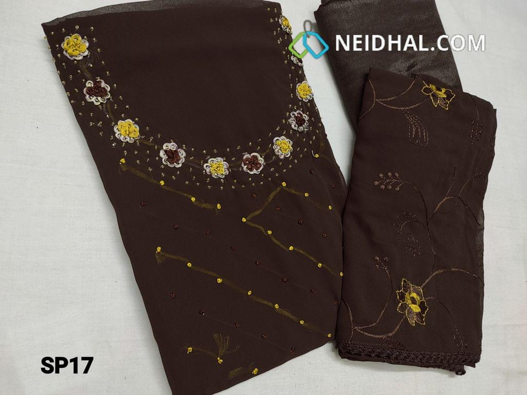 CODE SP17 : Designer Dark Brown Georgette unstitched Salwar material(Shiny fancy silk cotton lining included) with French knot work, bead work, thread work on yoke, shiny fancy silk cotton bottom, Embroidery work on chiffon dupatta with lace tapings