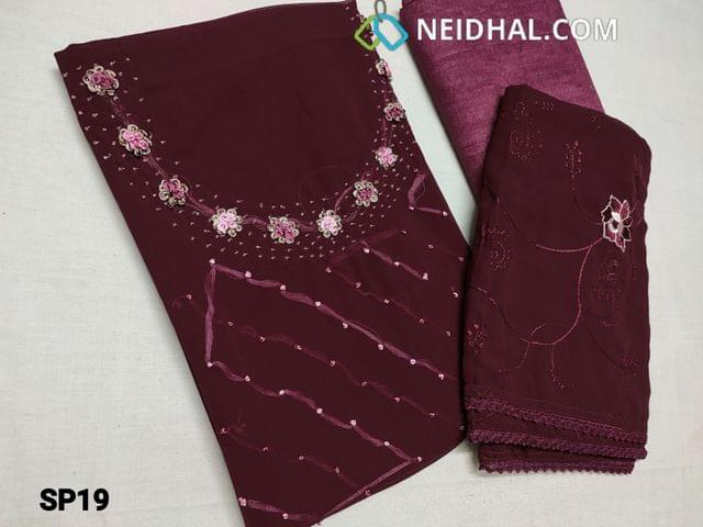 CODE SP19 : Designer Reddish Maroon Georgette unstitched Salwar material(Shiny fancy silk cotton lining included) with French knot work, bead work, thread work on yoke, shiny fancy silk cotton bottom, Embroidery work on chiffon dupatta with lace tapings