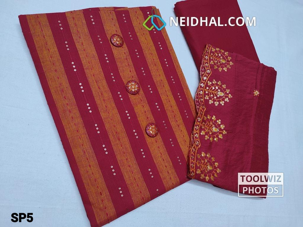 CODE SP05 : Printed Sober Red and Orange South Cotton Unstitched Salwar material with Sequins weaving, fancy buttons, Red cotton bottom, Fancy Silk cotton dupatta with heavy thread and embroidery work and cut work on taping