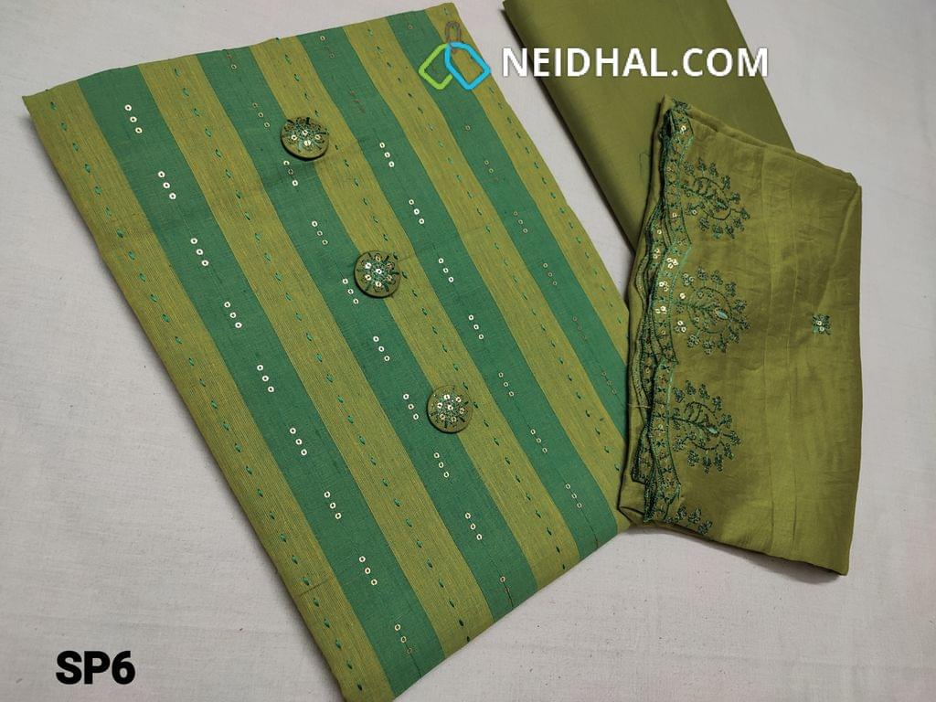 CODE SP6 : Printed Sober Green South Cotton Unstitched Salwar material with Sequins weaving, fancy buttons, Green cotton bottom, Fancy Silk cotton dupatta with heavy thread and embroidery work and cut work on taping