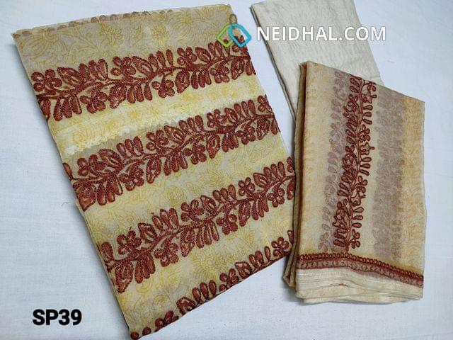 CODE SP39 : Designer Printed Sober Beige Organza Unstitched Salwar material(thin fabric requires lining) with Heavy thread embroidery work on Yoke region, Santoon bottom, Printed Organza dupatta with embroidery work and taping