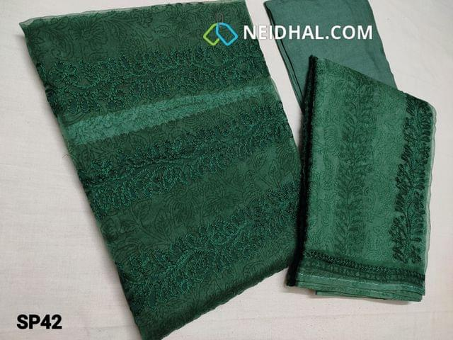 CODE SP42 : Designer Printed Green Organza Unstitched Salwar material(thin fabric requires lining) with Heavy thread embroidery work on Yoke region, Santoon bottom, Printed Organza dupatta with embroidery work and taping