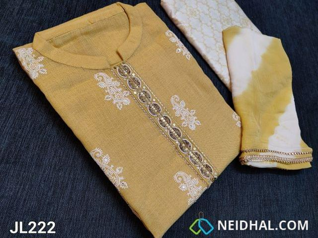 CODE JL222 : Designer Sand Brown Premium Linen fabric unstitched Salwar material(Thin fabric requires lining) mandarin collar, Heavy pearl bead sequins work on yoke with gota lace taping, Embroidery and sequins work on front side, plain back, Thread and gota work on daman, Printed silk cotton bottom, Dual shaded shibori printed chiffon dupatta with gota lace tapings