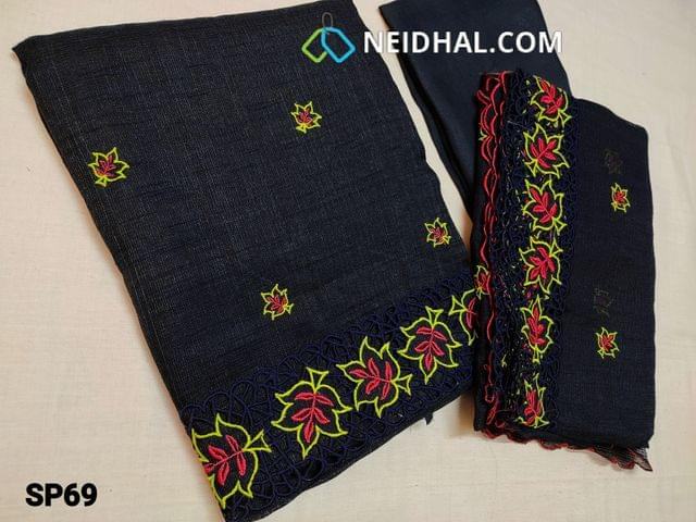 CODE SP69 : Designer Dark Navy Blue Accord Fabric Unstitched salwar material(coarse and stiff fabric, requires lining) Heavy cut work and thread work on daman thread work all over front side, santoon bottom, Accord dupatta with heavy thread work and cut work taping