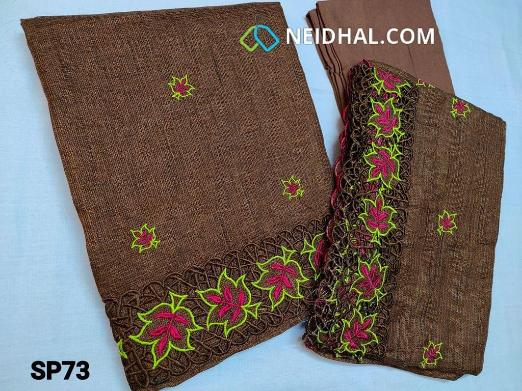CODE SP73 : Designer Brown Accord Fabric Unstitched salwar material(coarse and stiff fabric, requires lining) Heavy cut work and thread work on daman thread work all over front side, santoon bottom, Accord dupatta with heavy thread work and cut work taping