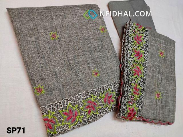 CODE SP71 : Designer Light Garey Accord Fabric Unstitched salwar material(coarse and stiff fabric, requires lining) Heavy cut work and thread work on daman thread work all over front side, santoon bottom, Accord dupatta with heavy thread work and cut work taping