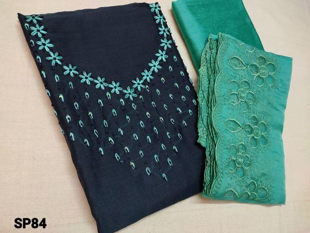 CODE SP84 : Blue Soft Silk cotton unstitched Salwar material(shiny, thin fabric, requires lining) with Thread work and sequins work on yoke, Blue silk cotton bottom, Blue organza dupatta with thread and cut work