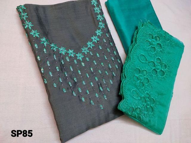 CODE SP85 : Grey Soft Silk cotton unstitched Salwar material(shiny, thin fabric, requires lining) with Thread work and sequins work on yoke, Green silk cotton bottom, Green organza dupatta with thread and cut work