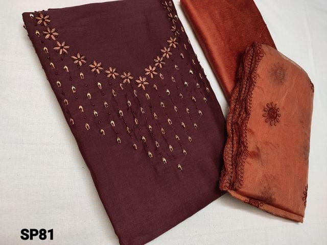 CODE SP81 : Maroon Soft Silk cotton unstitched Salwar material(shiny, thin fabric, requires lining) with Thread work and sequins work on yoke, Dark Peach silk cotton bottom, Dark Peach organza dupatta with thread and cut work