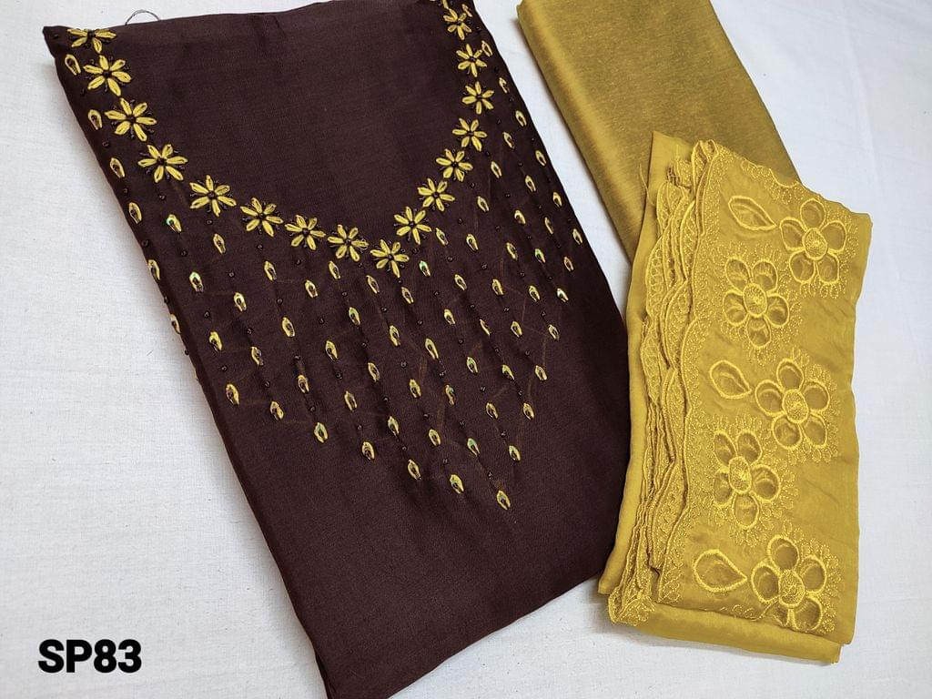 CODE SP83 : Brown Soft Silk cotton unstitched Salwar material(shiny, thin fabric, requires lining) with Thread work and sequins work on yoke, Mehandi Yellow silk cotton bottom, Mehandi Yellow organza dupatta with thread and cut work