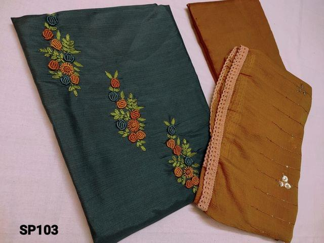CODE SP103 : Teal Green Soft Silk cotton unstitched Salwar material(shiny, thin fabric, requires lining) with Thread work on yoke, Fenu greek Yellow silk cotton bottom, Fenu Greek Yellow Chiffon duapatta with Heavy sequins work and lace taping