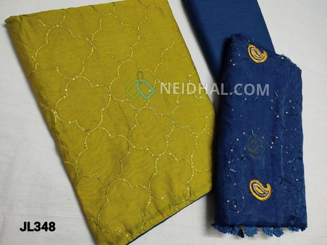 CODE JL348 : Mehandi Yellowish Green Fancy Silk Cotton unstitched Salwar material(Shiny, Flowy, thin fabrics, requires lining) with thread and sequins weaving on front side, plain back, Blue Cotton bottom, Blue Fancy organza dupatta with thread and sequins work and tassles.