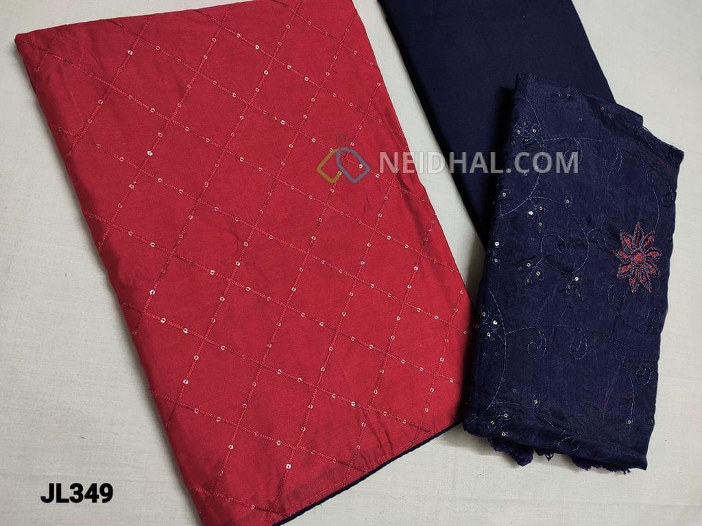 CODE JL349 : Reddish Pink Fancy Silk Cotton unstitched Salwar material(Shiny, Flowy, thin fabrics, requires lining) with thread and sequins weaving on front side, plain back, Blue Cotton bottom, Blue Fancy organza dupatta with thread and sequins work and tassles.