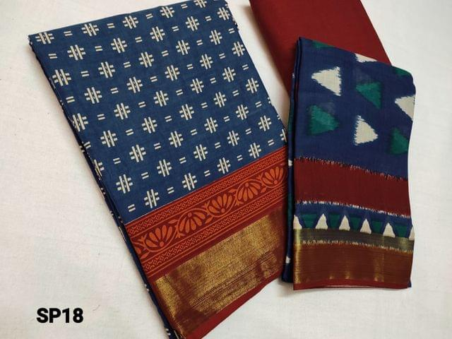 CODE SP118 : Block Printed Blue Cotton Unstitched salwar material(there might be variations in print alignment, density due to manual work) , daman patch,  red Cotton Bottom, Block printed (there might be variations in print alignment, density due to manual work) cotton dupatta.(requires taping)