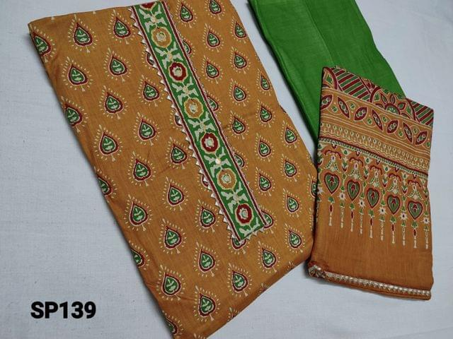 CODE SP139 :  Printed Yellow Cotton unstitched Salwar material(thin fabric requires lining) with Yoke work, Daman patch, thin green cotton bottom, Printed soft cotton dupatta with tapings