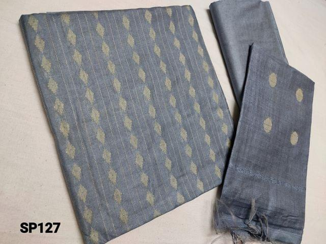CODE SP127 : Sober Light Greyish Blue woven Bhagalpuri Silk cotton unstitched Salwar material(thin fabric requires lining) Bhagalpuri silk cotton bottom, Weaving Bhagalpuri silk cotton dupatta with tassels(Taping needs to be stitched)