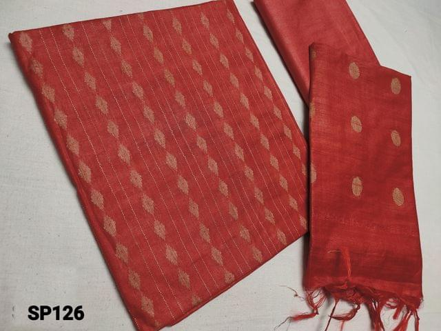 CODE SP126 : Sober Orange woven Bhagalpuri Silk cotton unstitched Salwar material(thin fabric requires lining) Bhagalpuri silk cotton bottom, Weaving Bhagalpuri silk cotton dupatta with tassels(Taping needs to be stitched)