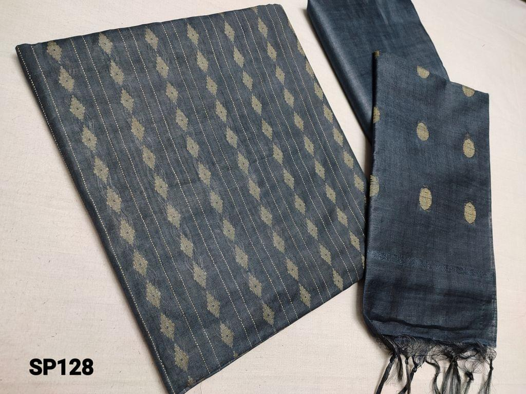 CODE SP128 : Sober Dark Greyish Blue woven Bhagalpuri Silk cotton unstitched Salwar material(thin fabric requires lining) Bhagalpuri silk cotton bottom, Weaving Bhagalpuri silk cotton dupatta with tassels(Taping needs to be stitched)