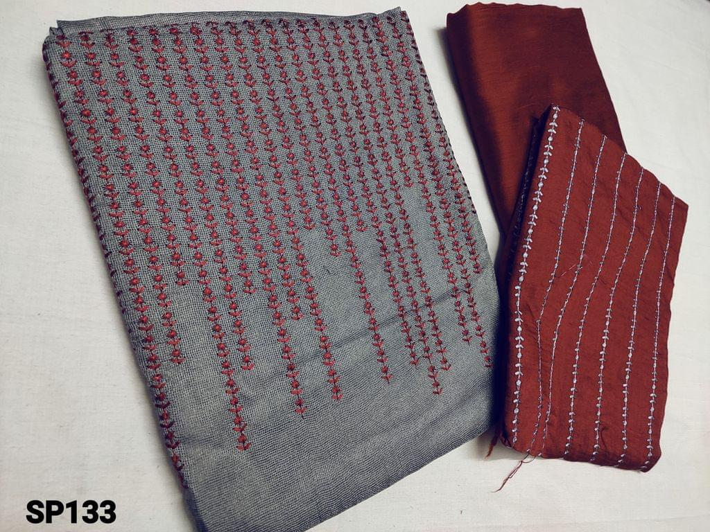 CODE SP133 : Grey Accord fabric unstitched Salwar material(netted fabric requires lining) with heavy thread work on yoke, Maroon Silk cotton bottom, Soft silk cotton dupatta with heavy thread weaving (Taping needs to be stitched)