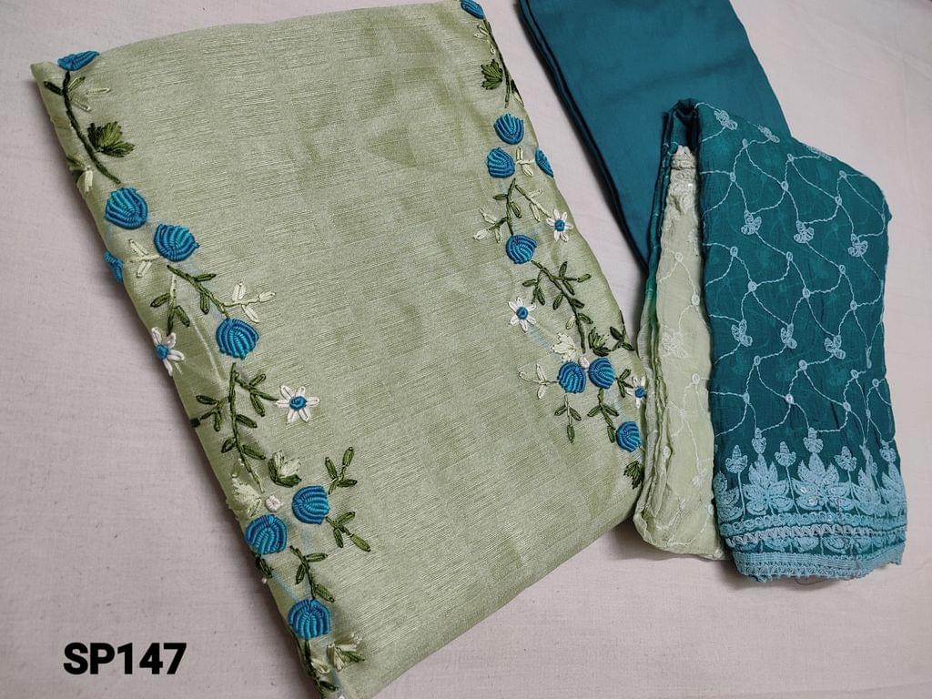 CODE SP147 : Designer Pastel Green Jaquard Silk Cotton unstitched salwar material(coarse fabric, requires lining) with Spring Embroidery work and pearl bead work  on yoke, Blue santoon or silk cotton bottom, Heavy embroidery and sequins work on Chiffon dupatta.