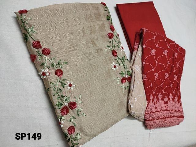 CODE SP149 : Designer Beige Jaquard Silk Cotton unstitched salwar material(coarse fabric, requires lining) with Spring Embroidery work and pearl bead work  on yoke, Red santoon or silk cotton bottom, Heavy embroidery and sequins work on Chiffon dupatta.