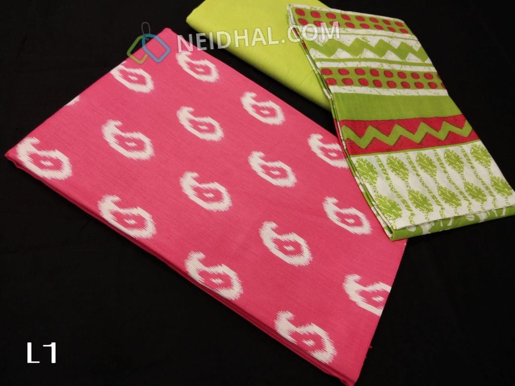 CODE L1 : Printed Pink  Cotton unstitched salwar material(requires lining), light green cotton bottom, Printed mul cotton dupatta(requires taping)