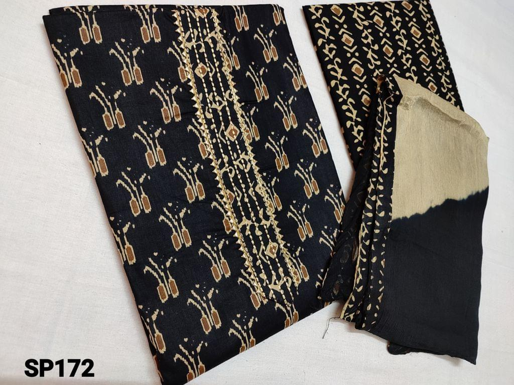 CODE SP172 : Printed Black cotton unstitched Salwar material(requires lining) with Yoke patch work, printed cotton bottom, chiffon dupatta with taping