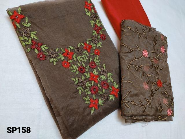 CODE SP158 : Designer Brown Organza Unstitched Salwar material(thin fabric requires lining) with Heavy thread embroidery, Sugar bead work work on Yoke, Silk Cotton bottom, Organza dupatta with embroidery work