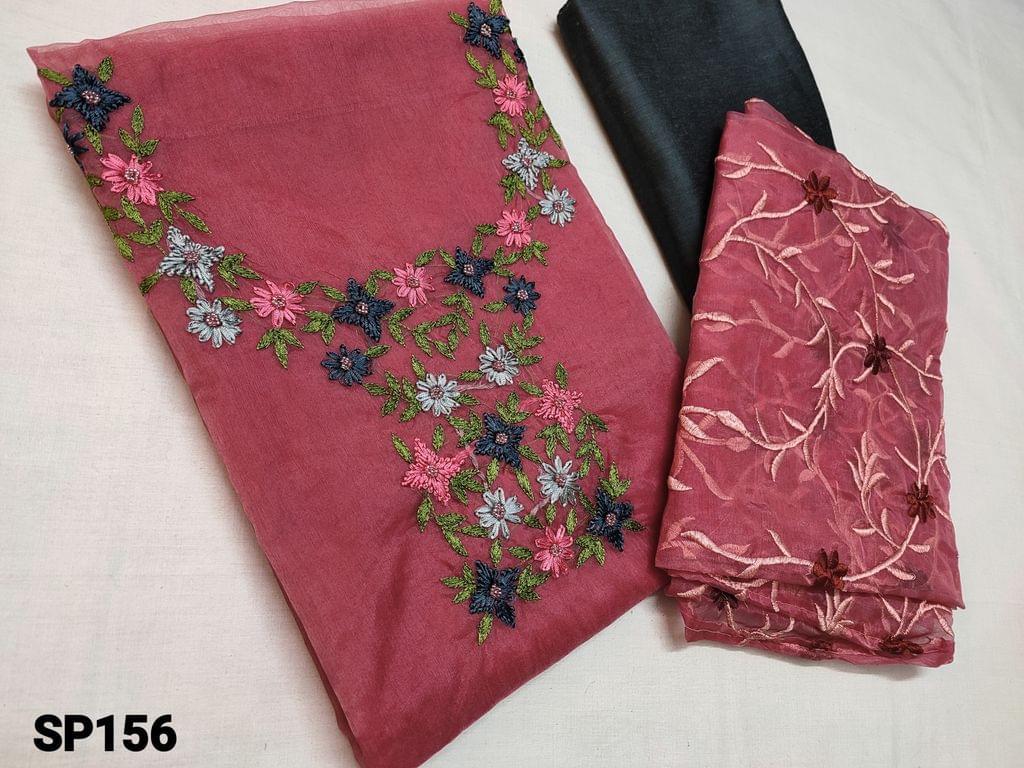 CODE SP156 : Designer Dark Pink Organza Unstitched Salwar material(thin fabric requires lining) with Heavy thread embroidery, Sugar bead work work on Yoke, Silk Cotton bottom, Organza dupatta with embroidery work