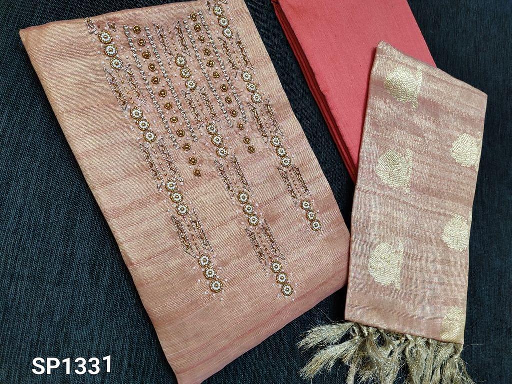 CODE SP1331 : Designer Peach Tissue Silk Cotton unstitched Salwar material(Mix of Silk cotton and Golden tissue, Shiny fabric, requires lining)  Bead and zardosi work on yoke, Peach Silk Cotton bottom, Benarasi woven Tissue Silk cotton dupatta with tassels