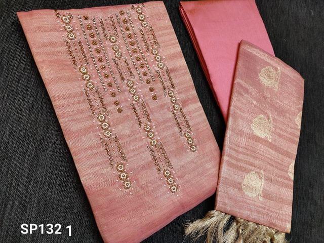 CODE SP1321 : Designer Pink Tissue Silk Cotton unstitched Salwar material(Mix of Silk cotton and Golden tissue, Shiny fabric, requires lining)  Bead and zardosi work on yoke, Pink Silk Cotton bottom, Benarasi woven Tissue Silk cotton dupatta with tassels
