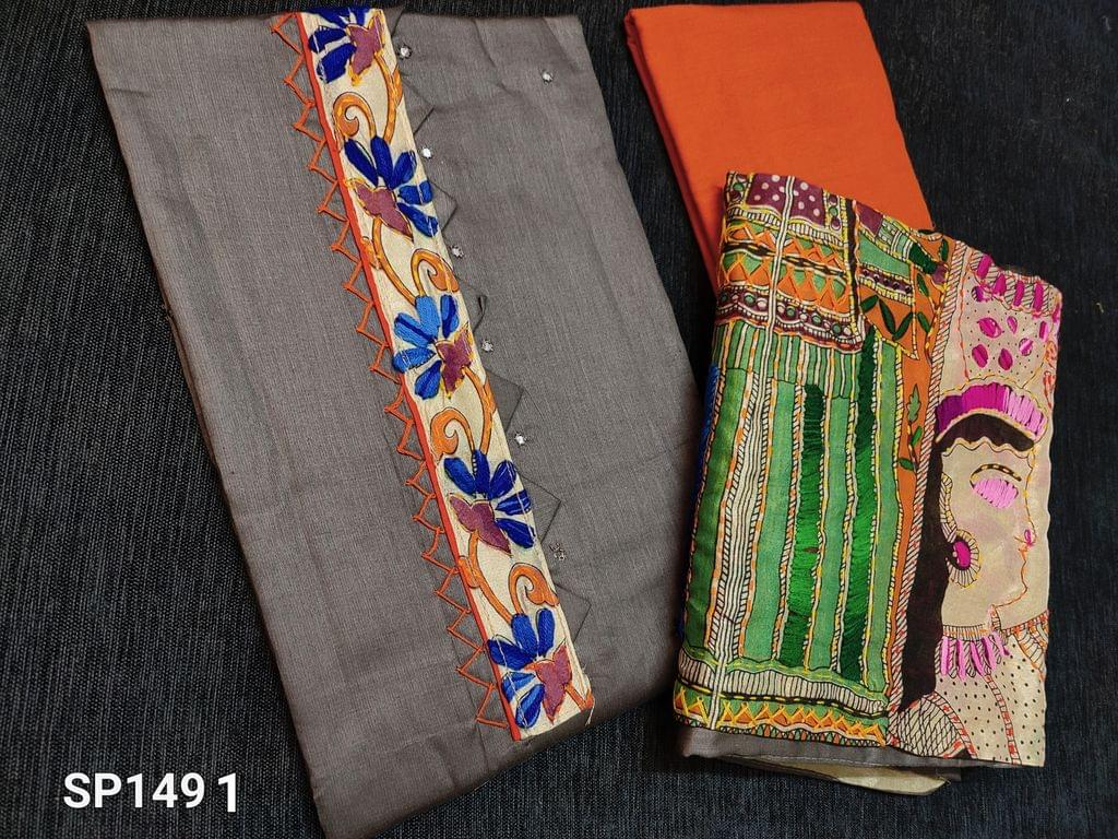 CODE SP1491 : Designer Grey Satin Cotton unstitched salwar material(requires lining) with Kantha patch work (Design on yoke and its color will vary from piece to piece) on yoke, faux mirror work on front side, contrast piping in daman, orange cotton bottom, kantha work on kalamkari printed Golden Beige silk cotton dupatta with tapings (colour of embroidery and print might vary for each set)