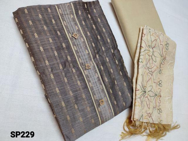 CODE SP229 :  Thread weaving Dark Grey Silk cotton unstitched Salwar material(coarse fabric, thin material requires lining) beige cotton bottom, Beige silk cotton dupatta with heavy thread work (Taping needs to be stitched)