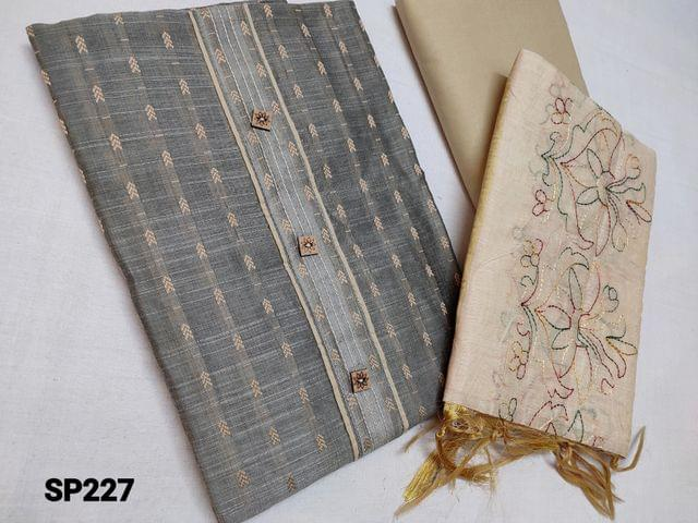 CODE SP227 :  Thread weaving Light Grey Silk cotton unstitched Salwar material(coarse fabric, thin material requires lining) beige cotton bottom, Beige silk cotton dupatta with heavy thread work (Taping needs to be stitched)