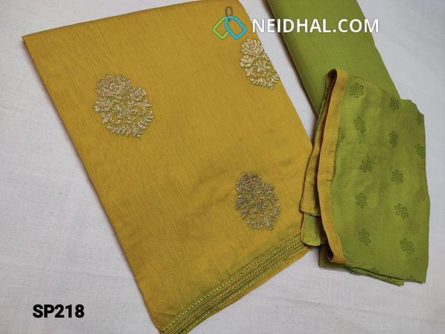 CODE SP218 :  Mehandi Yellow Silk cotton unstitched Salwar material(thin fabric requires lining) with zari embroidery work on front side, plain back, Green cotton bottom, Printed Green chiffon dupatta with taping