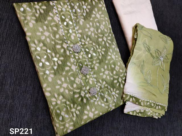 CODE SP221 :  Printed Green Liquid Fabric Unstitched Salwar material(Flowy fabric) gota work on yoke, Fancy Buttons, Silver foil prints, Half white Silk cotton bottom, Heavy thread and sliver zari embroidery work on chiffon dupatta with taping