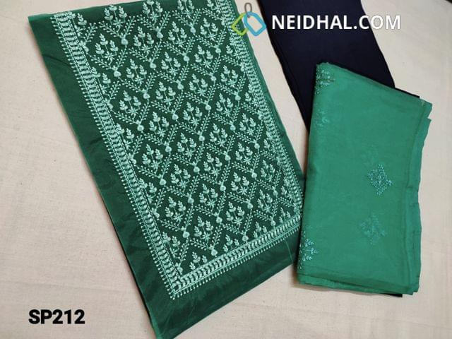 CODE SP212 : Green Organza Unstitched Salwar material(thin fabric requires lining) Heavy thread work on yoke and Ombre pattern, Blue Santoon bottom, Ombre pattern Organza dupatta with embroidery work