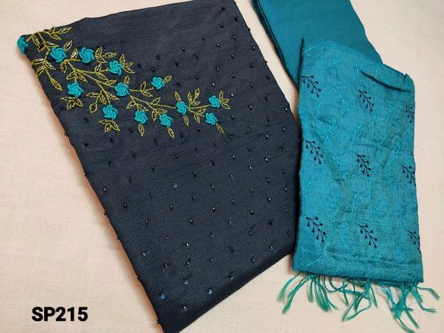 CODE SP215 :  Dark Navy Blue Soft Silk Cotton unstitched Salwar material(thin shiny fabric requires lining) with Heavy cut bead, Thread embroidery work on yoke, Blue Silk cotton bottom, Blue Silk cotton dupatta with heavy thread embroidery work(Taping needs to be stitched)