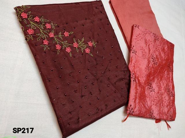 CODE SP217 :  Maroon Soft Silk Cotton unstitched Salwar material(thin shiny fabric requires lining) with Heavy cut bead, Thread embroidery work on yoke, Peach Silk cotton bottom, Peach Silk cotton dupatta with heavy thread embroidery work(Taping needs to be stitched)
