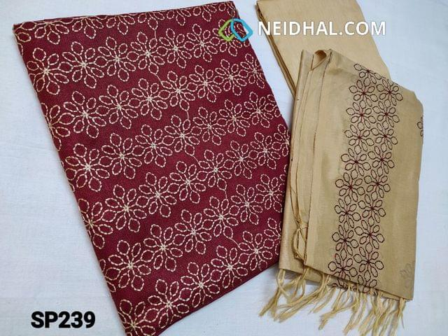 CODE SP239 : Maroon Accord Fabric(Coarse and Netted fabric, requires lining) Unstitched Salwar material, with Heavy thread work on Yoke, Beige Silk cotton bottom, Soft Silk cotton dupatta with Embroidery work (Taping needs to be stitched)