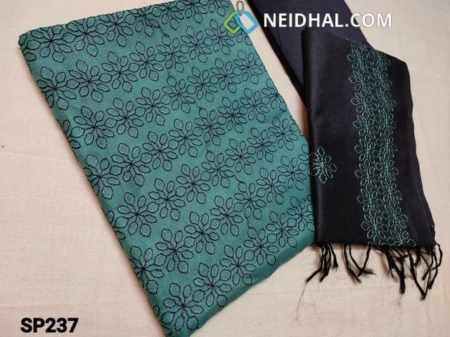 CODE SP237 : Blue Accord Fabric(Coarse and Netted fabric, requires lining) Unstitched Salwar material, with Heavy thread work on Yoke, Navy Blue Silk cotton bottom, Soft Silk cotton dupatta with Embroidery work (Taping needs to be stitched)