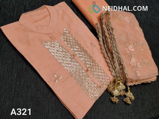CODE A331: Designer Peach Thin silk Cotton Semi Stitched Salwar material (requires lining, Can be stitched up to L Size only) with mandarin collar, Heavy sequins work on yoke, fancy button, thread and sequins work on front side, Peach cotton bottom, Organza dupatta with heavy zari and thread embroidery with tapings and fancy tassels