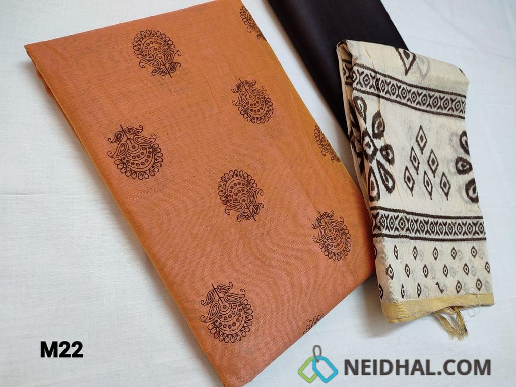 CODE M22 :  Block Printed Peach Silk cotton unstitched Salwar material(thin fabric requires lining), brown cotton bottom, Fancy block printed khadhi cotton dupatta with tapings