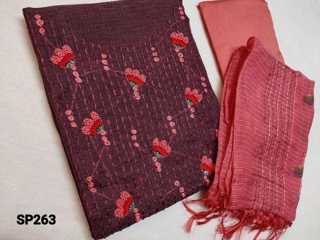 CODE SP263 : Designer Maroon Accord Fabric Unstitched salwar material(coarse and stiff fabric, requires lining) Heavy thread, French Knot and cut bead work on yoke, Peach Silk cotton Bottom, Kota dupatta with heavy thread work