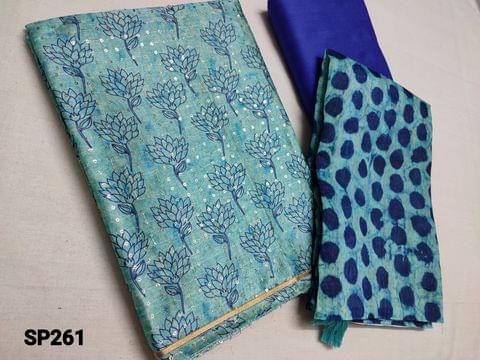 CODE SP261 : Designer Blue Silk cotton unstitched Salwar material(Thin Shiny fabric, requires lining) with digital prints and heavy sequins weaving on front and back side, Royal Blue Silk cotton bottom, digital printed Silk cotton short width dupatta with tassels