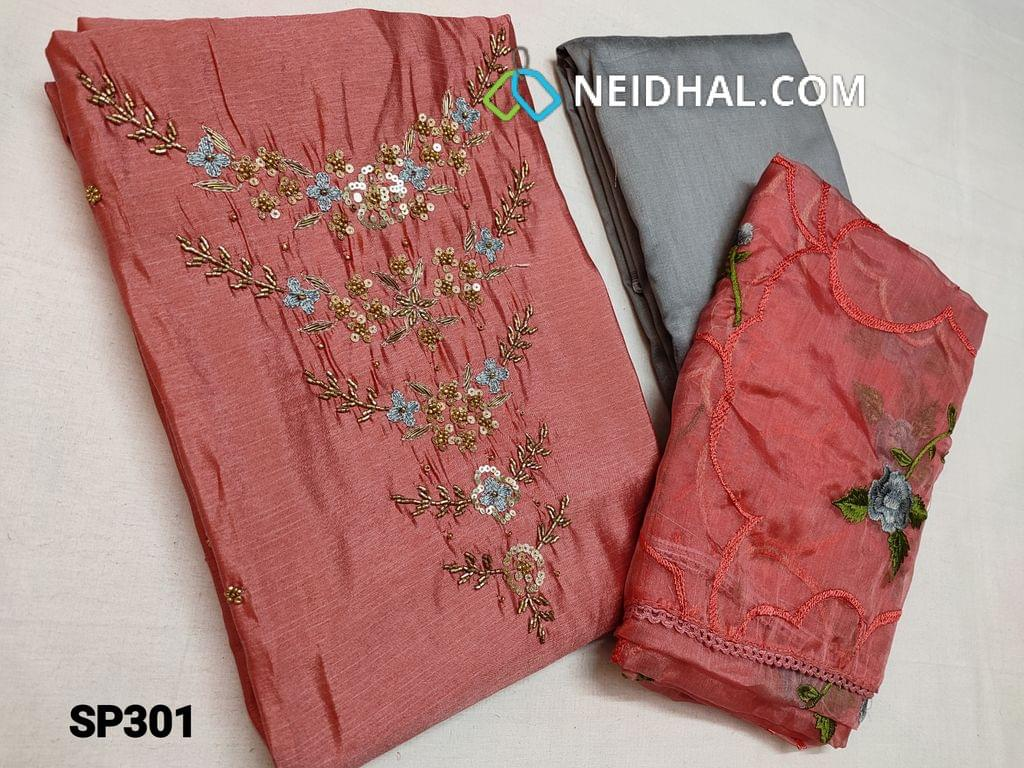 CODE SP301 : Pink Silk Cotton unstitched Salwar material(thin fabric requires lining) with heavy thread work, cut bead, sequins and golden bead work on yoke, Grey Silk cotton bottom, Organza dupatta with heavy thread work and lace taping