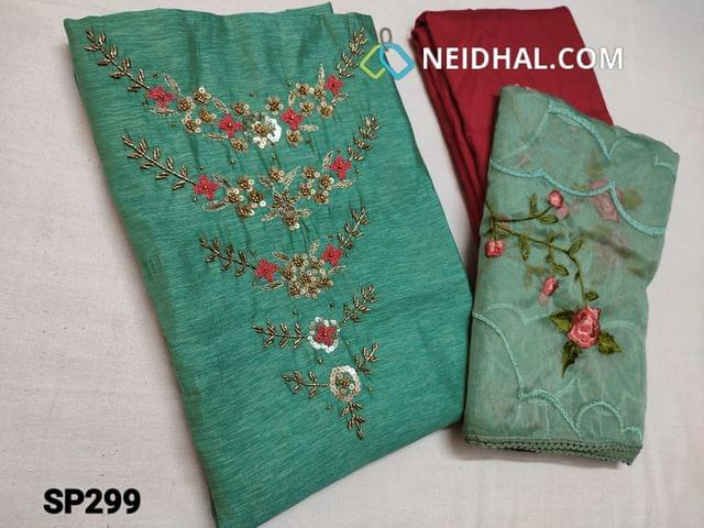 CODE SP299 : Turquoise Green Silk Cotton unstitched Salwar material(thin fabric requires lining) with heavy thread work, cut bead, sequins and golden bead work on yoke, Dark Pink Silk cotton bottom, Organza dupatta with heavy thread work and lace taping