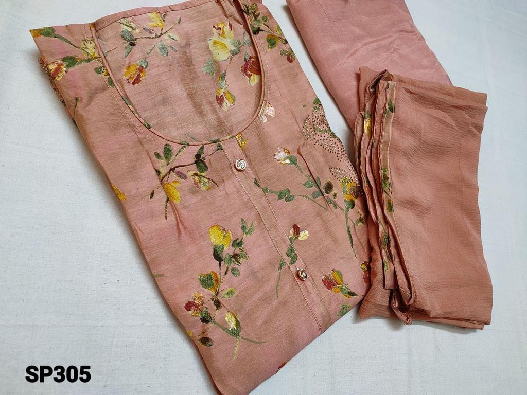 CODE SP305 : Designer Pink viscous Silk cotton Unstitched Salwar material(thin fabric requires lining) with round neck, Digital and Golden prints on both side, Pink Santoon bottom, Pink Chiffon dupatta with tapings